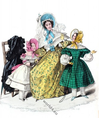 fashion history, Crinoline, Bonnets, Crepe, Romantic, dresses,