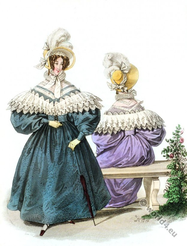 Embroidered Canezou. Romantic era costume 1833.