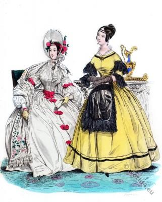Chiffon Frock Coat. Romantic fashion era costumes 1836.