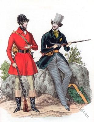 Romantic era hunting costumes. Mens dresses. French Restoration fashion.