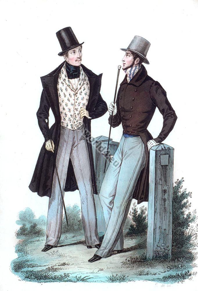 fashion history, Redingote, Cylinder hat,