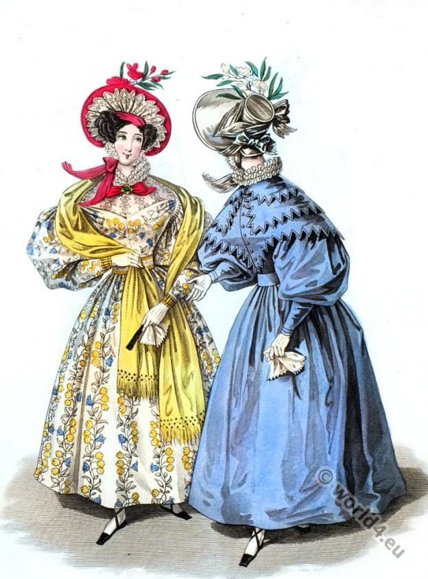 Romantic fashion era costumes.