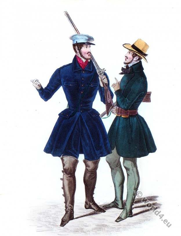 Velvet breeches, Straw hat. Romantic era costumes 1833.