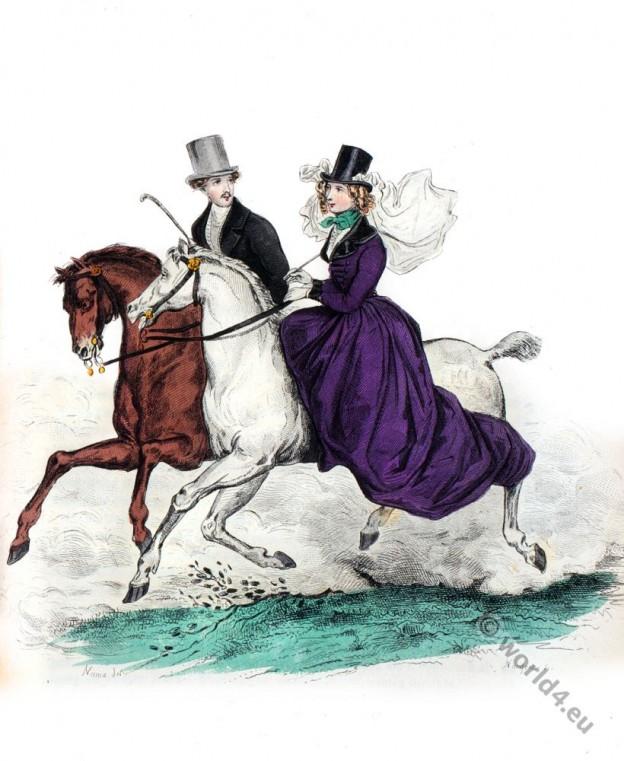Romantic, fashion, Restoration, costumes, Biedermeier