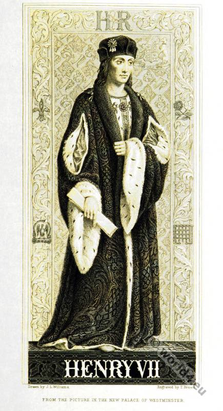 Tudor Henry VII. England King. Coronation costume