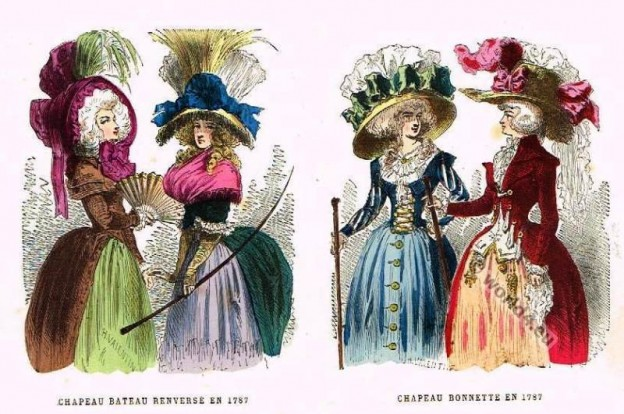 French 18th century headdresses and gowns