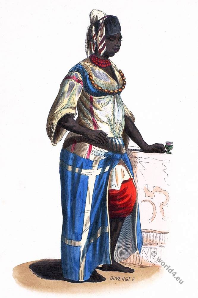 Algeria. Maidservant slave in Algiers. Historical clothing.