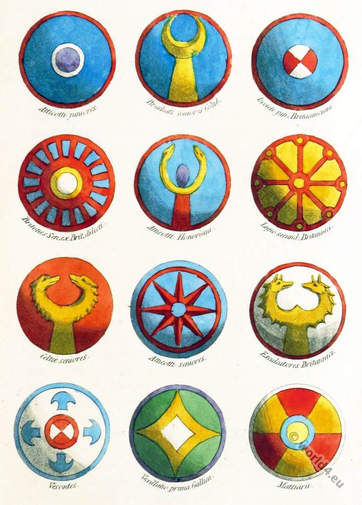 Shield, Regiments, Gallic, British, German, auxiliary,  Celtic, shields, Ornaments, Clans, heraldry, weapons,