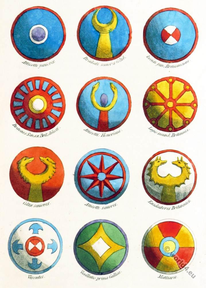 Gallic, Celtic, shield, Ornaments, Clans, Roman Empire.