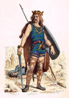 frankish warrior clothing, 5th century costume, Merovingian, Gaul