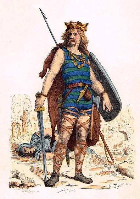 Frankish Gaul warrior costume 5th century