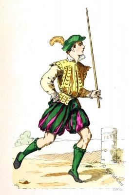 Lackey runner costume. 15th century clothing. Renaissance era.