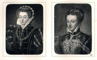 Portait Mary Stuart. Tudor costumes. Queen Scotland