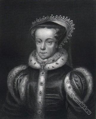 Portrait of Mary Stuart. Queen of Scotland. Renaissance costume