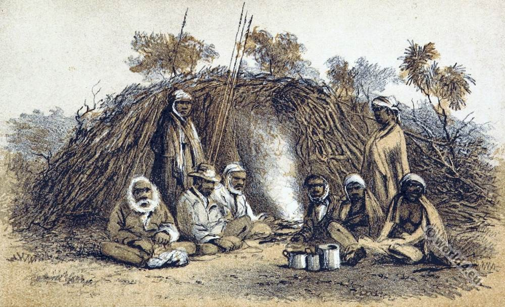 Camp of Aborigines. Australia native. South Australia Tribe.