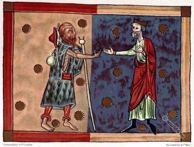 Plantagenet king. hermit dress. England court life. Middle ages clothing.