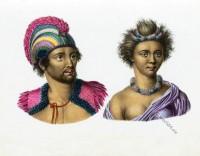 Feather Headdress, Hawaii, Natives, costumes, Sandwich, Islands, Inhabitants,