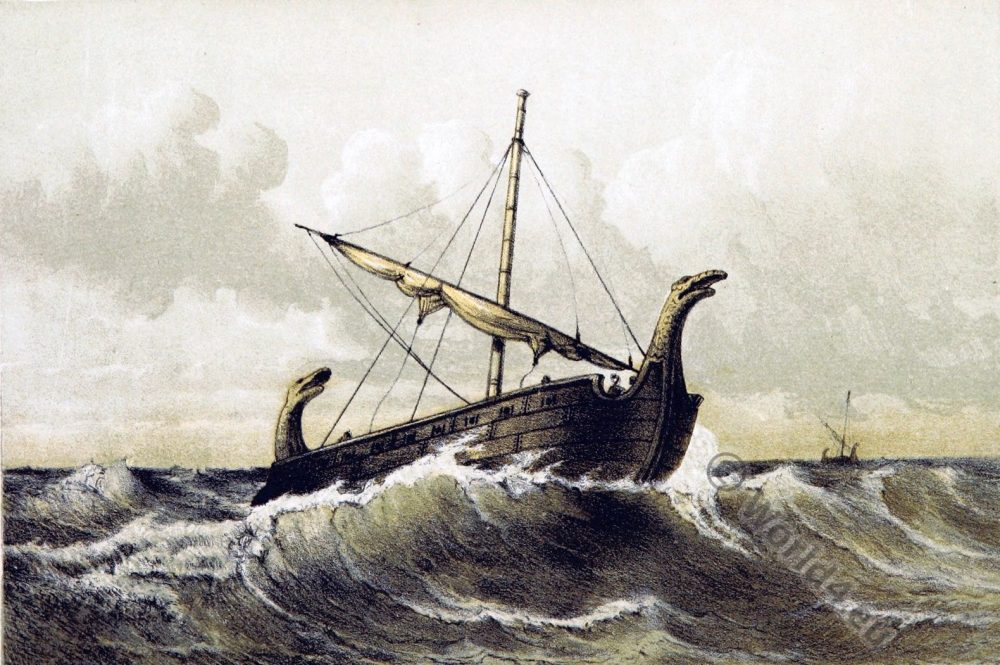 Vessel. Viking. Boat. 9th century. Middle ages.
