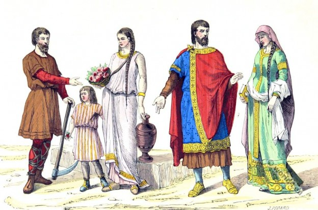 Clothing, costumes French family laborers - Noble family 5th century. Celtic, gaul, merovingian