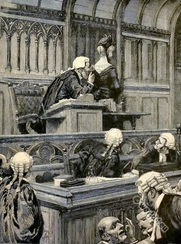 Augusta in Court from the novel Mr. Meeson's Will. Henry Rider Haggard