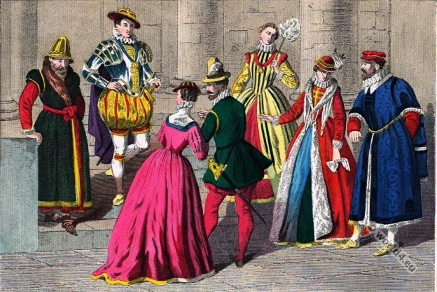 England Tudor clothing 1550 to 1580. Renaissance era.