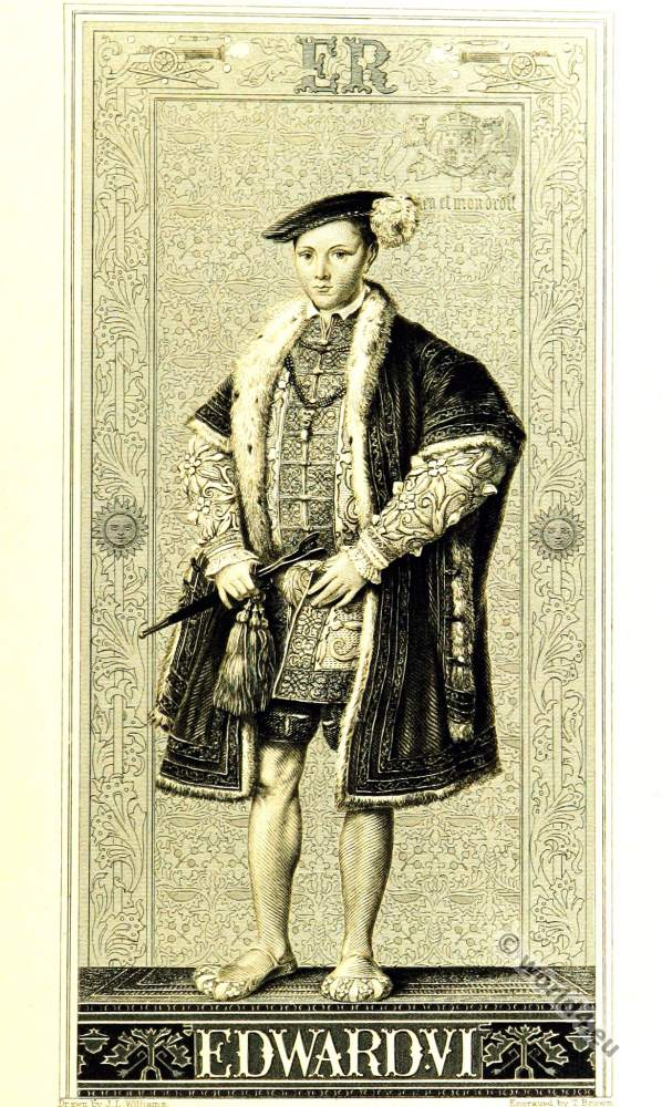 English boy king Edward VI. Tudor era clothing. 16th century