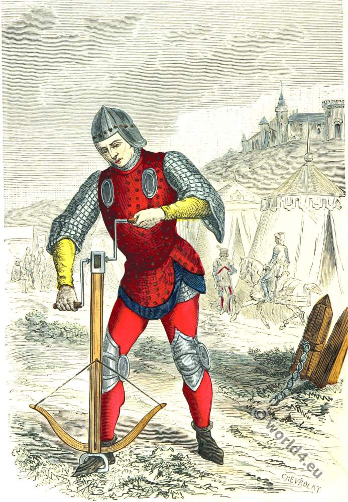 French Crossbowman. 15th century military clothing. Middle ages soldier. Gothic costume.
