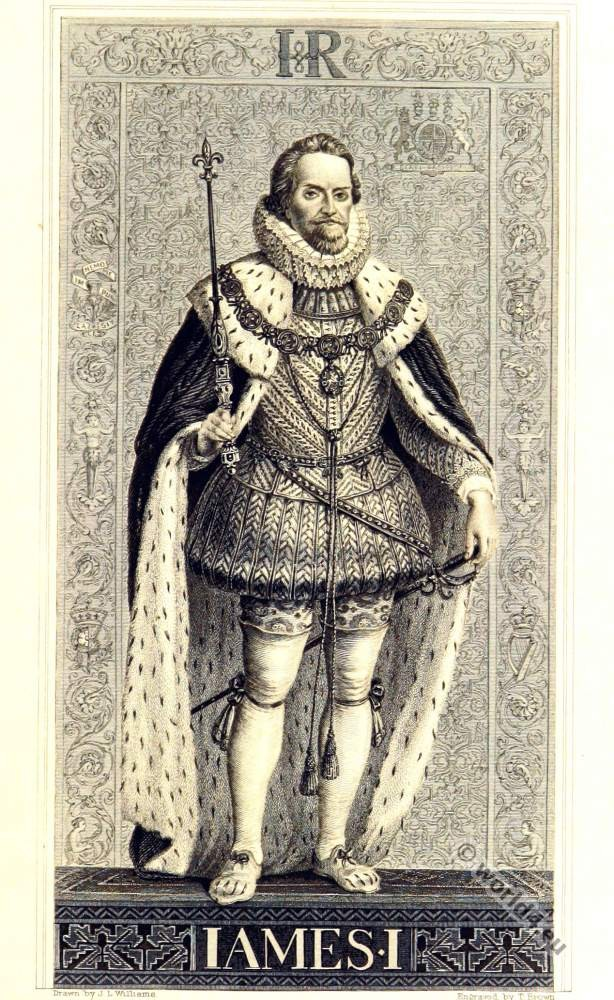 King James I of England. Baroque era. 17th century clothing