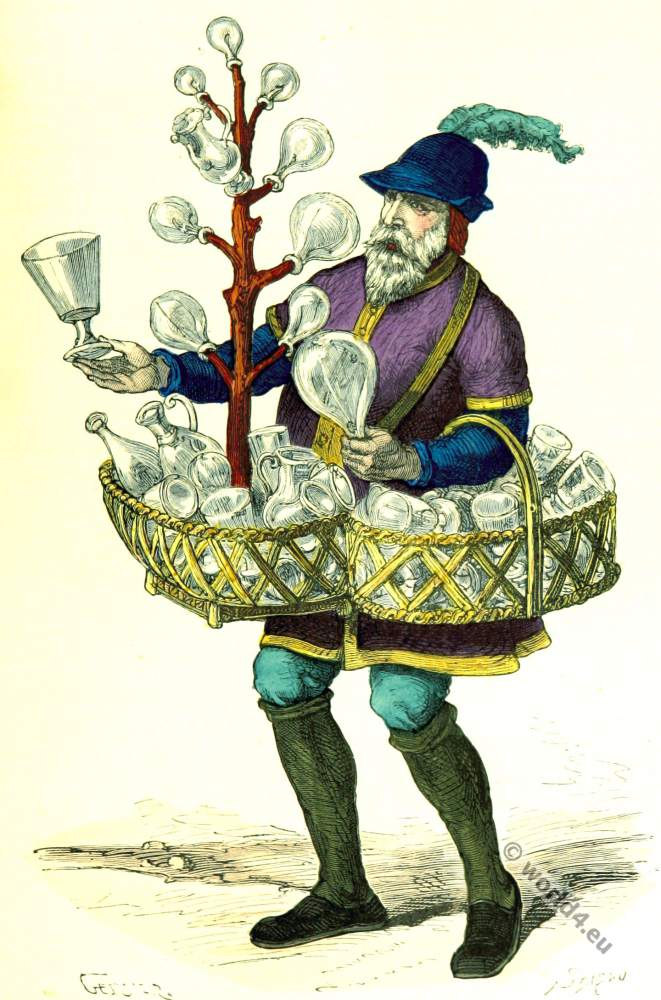 French Merchant clothing. Middle ages 15th century costumes.