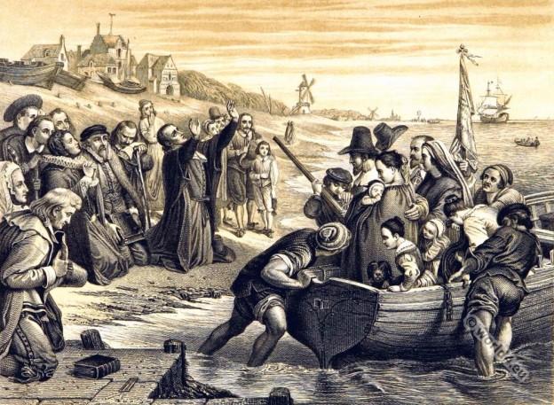 Mayflower pilgrim fathers. England Tudor era.