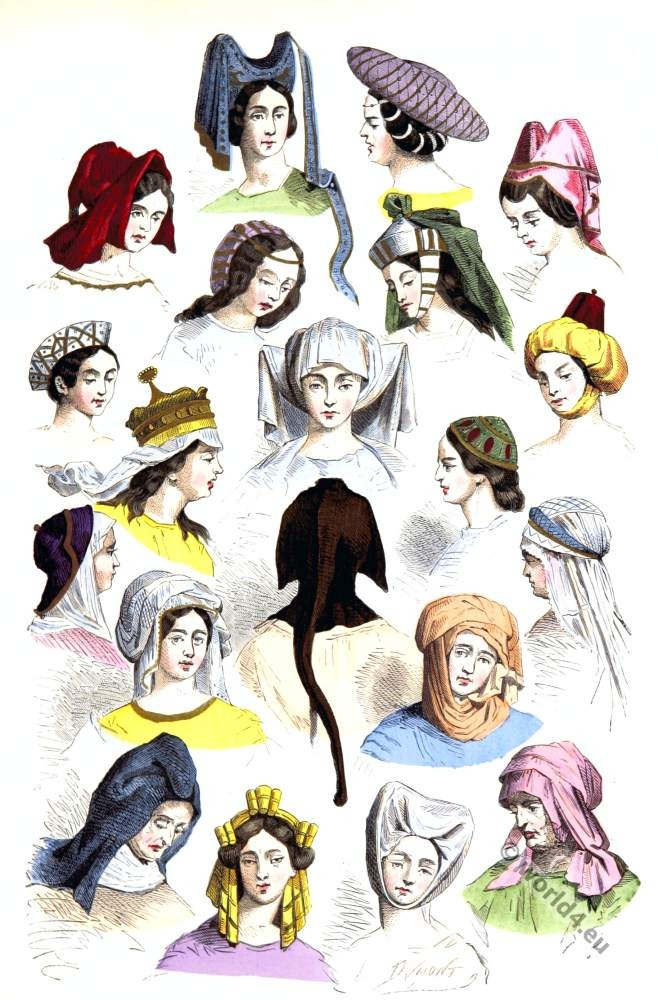 medieval female hats,hairstyles, modes,15th,16th, centuries, fashion,middle ages