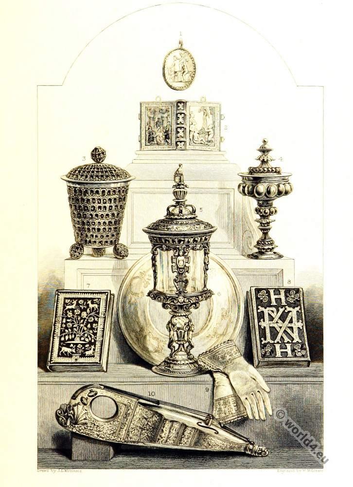 Queen Elisabeth Tudor relics. English Renaissance era clothing.