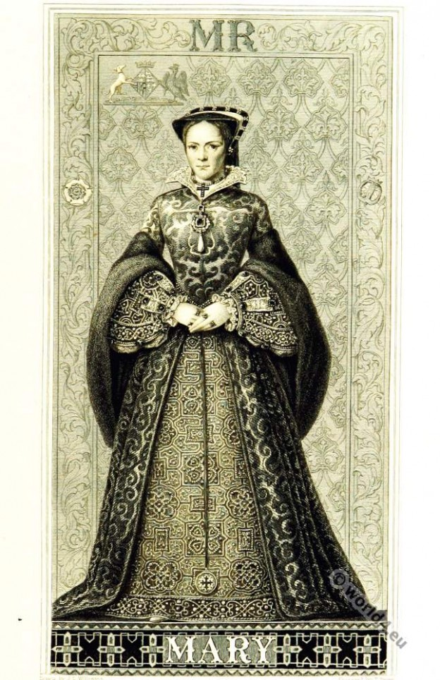 Queen Mary I. Tudor. Tudor Queen Mary I. Renaissance era clothing