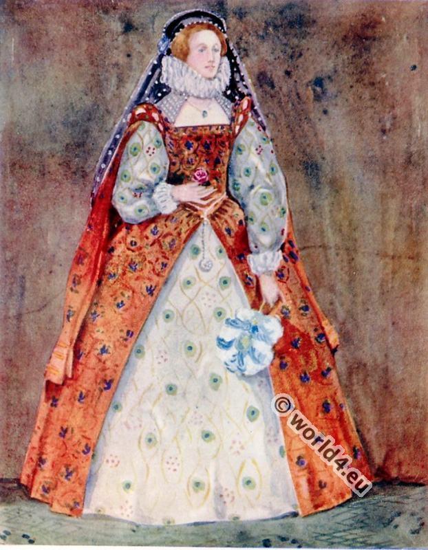 England, lady, Tudor, costumes. 16th century, fashion history