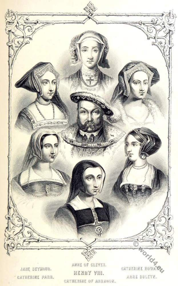 Tudor, Henry VIII, Anne of Cleves, Catherine Howard, Anne Boleyn, Catherine of Aragon, Catherine Parr, Jane Seymour.