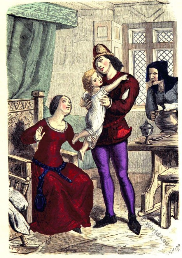 Wealthy bourgeoisie family. 14th century clothing. Middle ages costumes