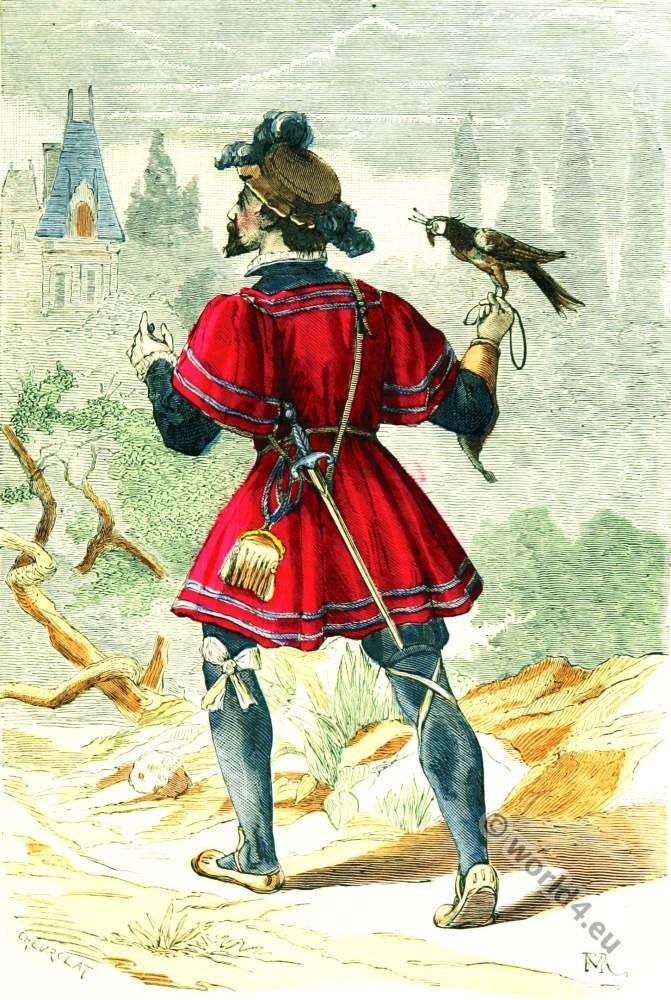 Falconer costume. 16th century fashion. Renaissance clothing.
