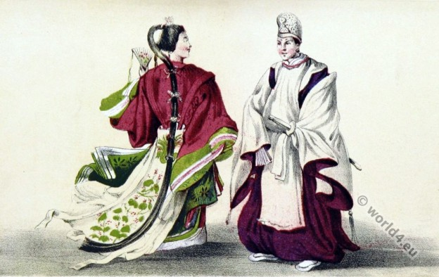 Japan Nagasaki historical costumes. antique kimonos. traditional japanese clothing.