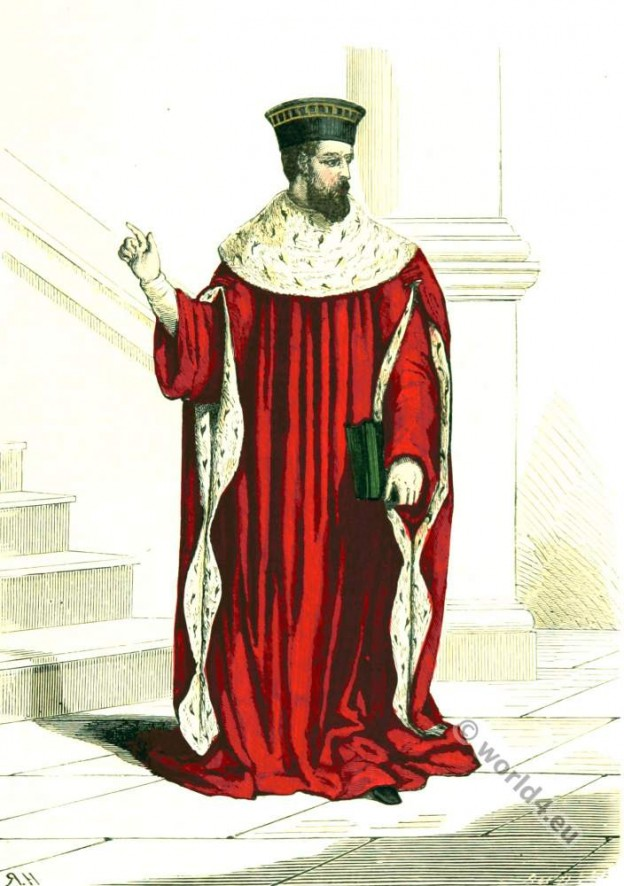 First President. Parliament Paris. 16th century costume. Renaissance fashion