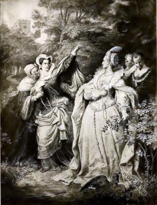 Elizabeth I., Mary Stuart. England Tudor era costumes.