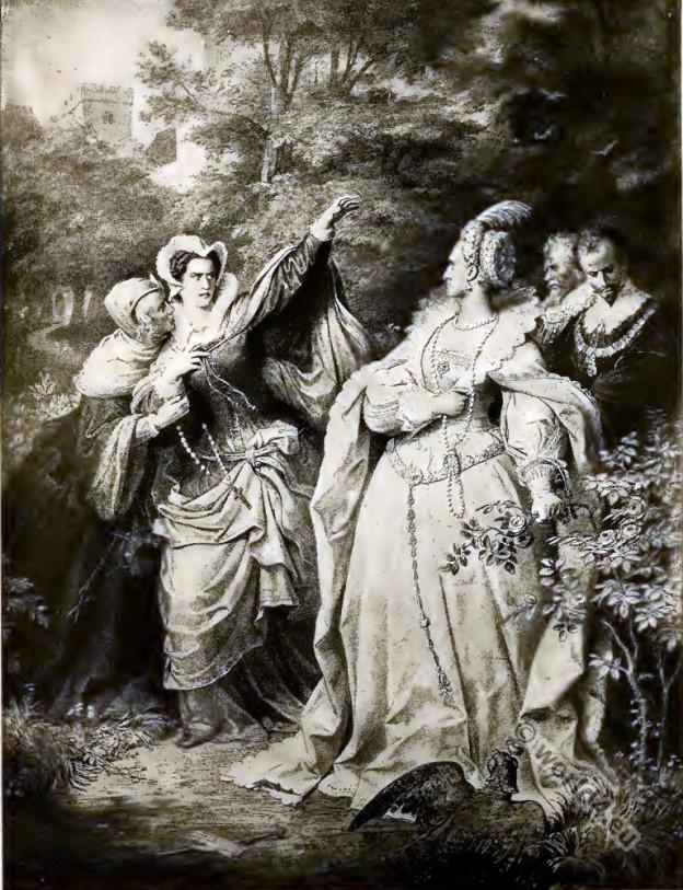 Elizabeth I., Mary Stuart. Tudor era costumes.