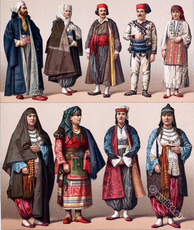 Historical Turkish male and female costumes. Ottoman Empire clothing