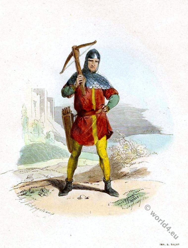 Arbaletrier, Crossbowman, Middle ages, French, military,