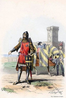 French knight costume. Middle ages military uniform. Capetian soldier