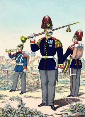 Prussian army uniforms. Bugle Grenadier. Foot grenadiers. Field Commander. Drum Major. 2nd. Guard Regiment.