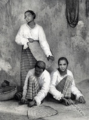 Sinhalese women. Sri Lanka traditional costumes. Femmes cingalaises