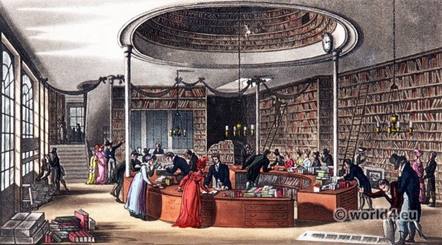 bookstore, Interior, England, Regency, architecture, London, Rudolph Ackermann,
