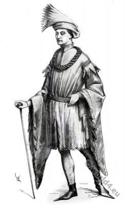 Adornment, Gentleman, 15th century. Gothic costume era