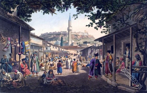 Bazar of Athens. Ottoman empire. Ottoman costumes.