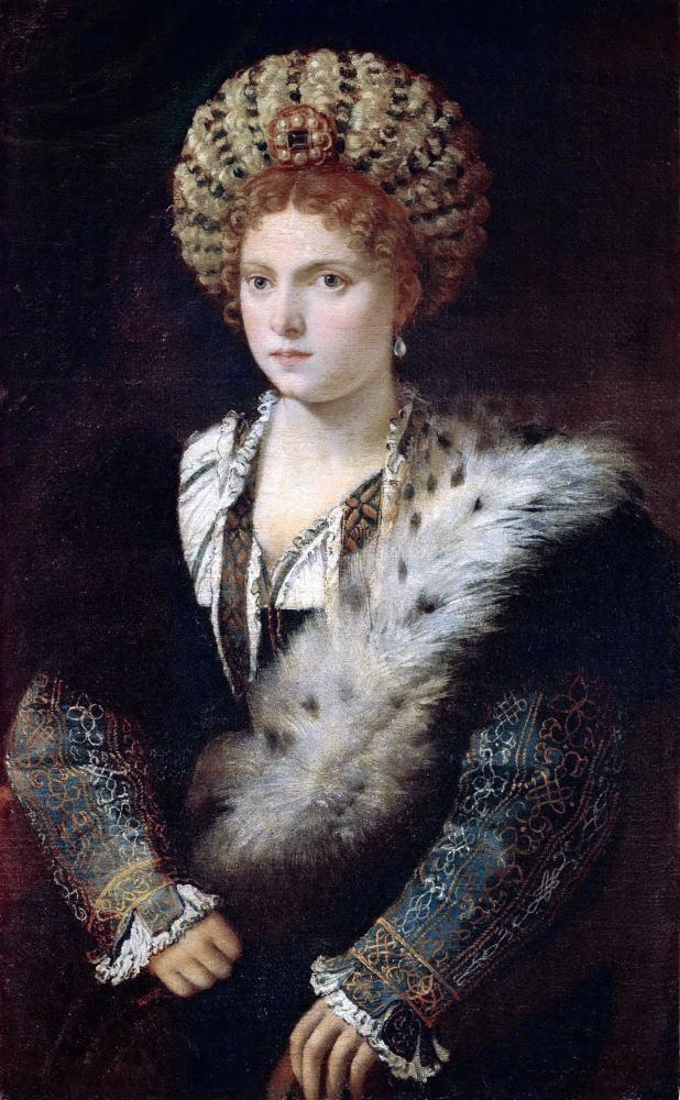 Isabella d'Este, Titian, Renaissance, balzo, portrait, fashion, costume